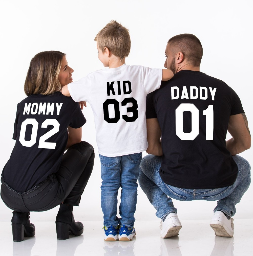 Family Matching Clothes 2017 Hot Sale Family Look Cotton T shirt DADDY MOMMY KID BABY Funny 3